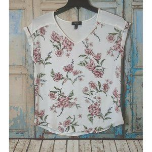 BCX Style Juniors L White Floral Pink Flowers Top